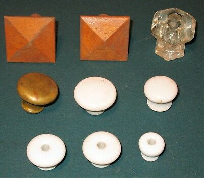 Vintage Lot Of 9 Drawer Pulls/knobs Assorted Size & Material Glass Brass Wood