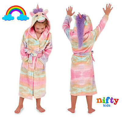 Loungeable Girls 3D Rainbow Unicorn Dressing Gown Kids Super Soft Animal Robe