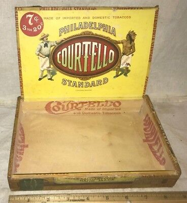 Antique Courtello Wood Cigar Box Vintage Tobacco Philadelphia Pa Indian Chief