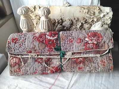 Antique French Fabric Boutis Red Mauve Floral Table Runner -Decorative Antiques