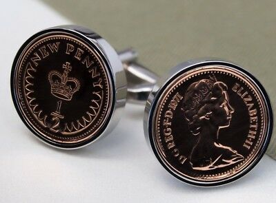 Half Pence Coin Cufflinks Choice of Birthday year 1971 to 1983