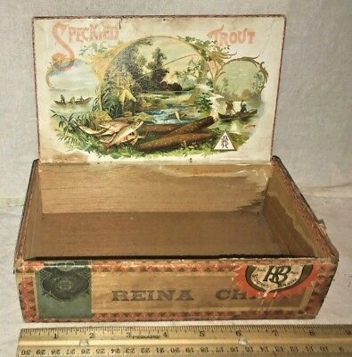 Antique Speckled Trout Wood Cigar Box Vintage Tobacco Fly Fishing Fish Rod Boat