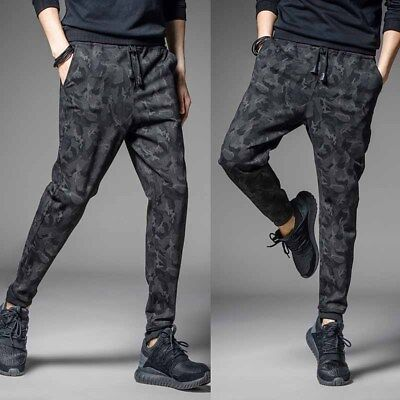 Men Fashion Black Textured Haren Sports Pants Jogger Waist Trousers Soft