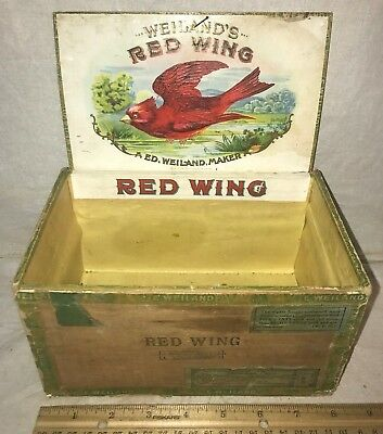 Antique Red Wing Wood Cigar Box Vintage Tobacco Cardinal Bird Country Store Old