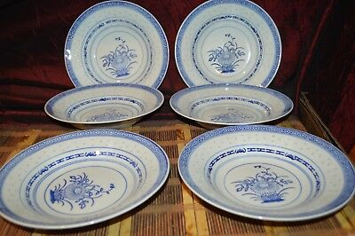 "6 Asian Porcelain Blue & White Flower Translucent Rice Eyes 8"" Shallow Soup Bowl"