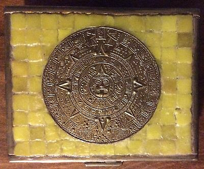 Vintage - Hinged Box - Brass / Wood / Tiles - Aztec Calendar - HECHO EN MEXICO