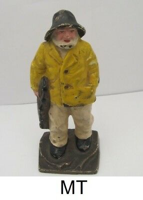 """Vintage 1920's 7"""" Cast Iron Fisherman With Lobster Trap Bookend """"Original!"""""""