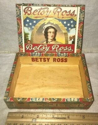 Antique Betsy Ross Wood Cigar Box Vintage Tobacco Patriotic Flag Historic Lady