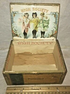 Antique High Society Wood Cigar Box Vintage Tobacco Victorian Lady Dancing Dress