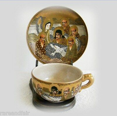 Satsuma vintage cup and saucer with warrior scenes - Meiji