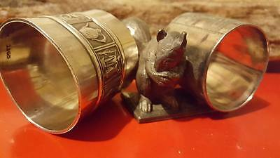RARE Sterling silver Meridian Company Napkin Holder x 2 silverplated (marked)