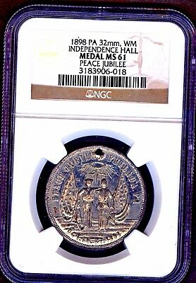 1898  32 Mm Ngc Ms 61 Peace Jubilee Independence Hall Pa  White Medal