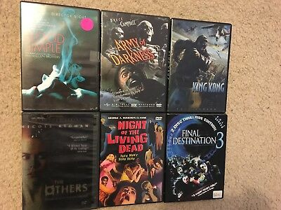 Lot of 6 HORROR DVD's ARMY OF DARKNESS Night of Living Dead King Kong BLOOD COEN