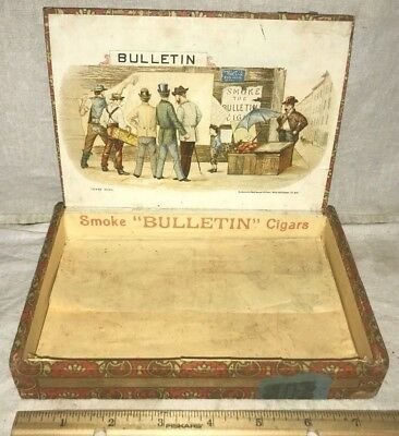 Antique Bulletin Wood Cigar Box Vintage Tobacco Gentlemen Posting Country Store