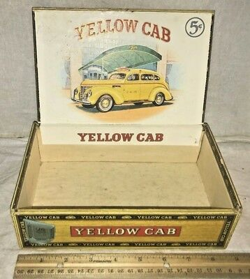 Antique Yellow Cab Part Wood Cigar Box Vintage Tobacco Taxi Driver Car Old Auto