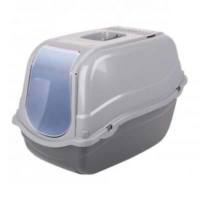 Portable Pet Cat Litter Tray Box Hooded Gated Toilet Carry Handle Grey