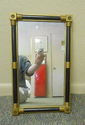 "Vintage Gorgeous Black & Gold Gilt Wood American Empire Style Mirror 19.75""x12"""