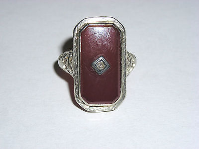 Victorian 14K White Gold Ornate Filigree Ladies Ring Set W/ Carnelian & Diamond