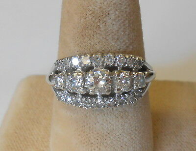Vintage Ladies 18K White Gold Triple Row 23 Diamond Ring Size 7.5 Signed AJ
