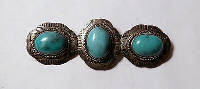 Vintage Southwestern Turquoise Color Glass Silver Tone Costume Brooch C Clasp