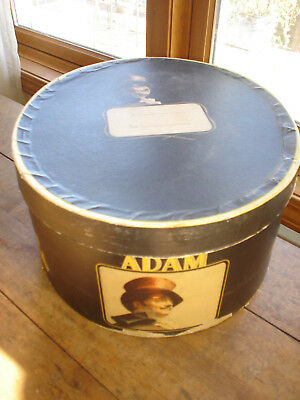 RARE Antique Vintage Adam Top Hat Co. Cardboard Hat Box Just Box Neat Graphics