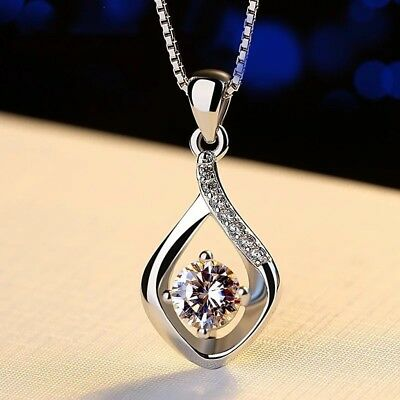 New 925 Sterling Silver Water Drop Necklace Pendant Womens Jewellery Uk