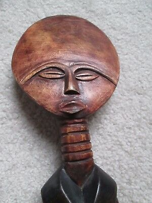African carved wood  Fertility? Sculpture made in Ghana, 21+ inches tall