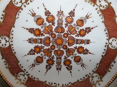 Vintage AUSTRIAN Mid Century Modern COPPER Enamel PLATE PIN TRAY Brown GOLD 5""
