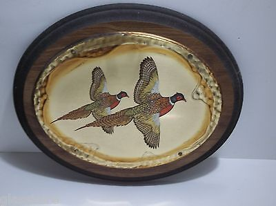 """Vintage Wood And Brass PHEASANT Wall Plaque FACING RIGHT 10.75"""""""