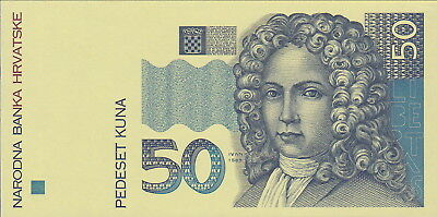 """Croatia,50 Kuna""""Specimen""""Banknote,1994,Uncirculated Condition Cat#31""""Face Only"""""""