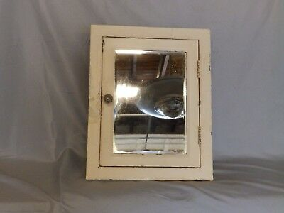 Antique Industrial Recessed Metal Medicine Cabinet Beveled Mirror Vtg 109-18P