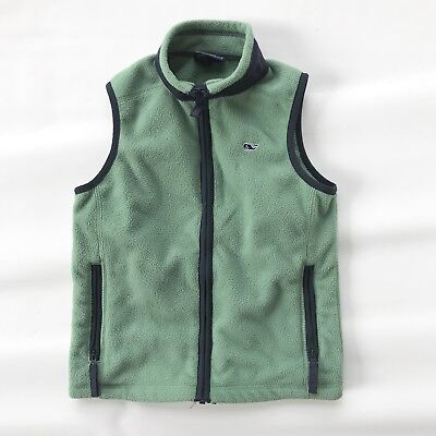 Vineyard Vines Martha's Vineyard Green Fleece Vest Boys Size 5 Whale Logo