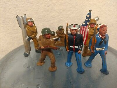 lot of 6 vintage lead soldiers military toys