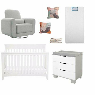 7 Piece Nursery Furniture Set in Gray and White
