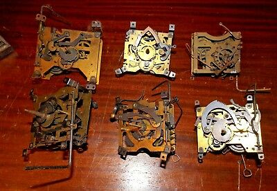 Lot of 6 Vintage Brass Cuckoo Coo Coo Clock Works As-is for parts or Repair