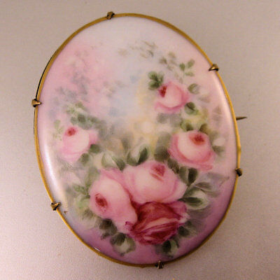 Victorian Hand Painted Porcelain Brooch Large Pin Rose Pin Antique Jewelry