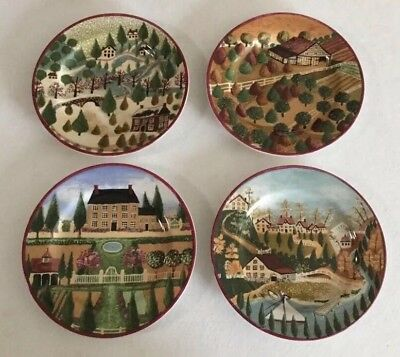 Block  Country Village - 4 Salad Plates - 1995 by GEAR - Folk Art