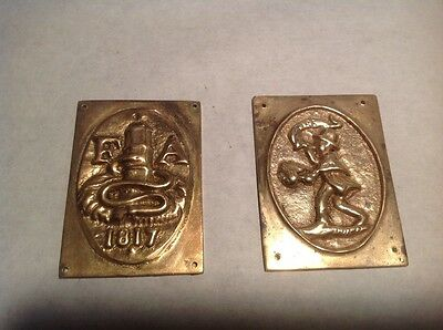 Vintage 2 Old Brass Plates, Plaque, Firehouse, Memorabilia Original