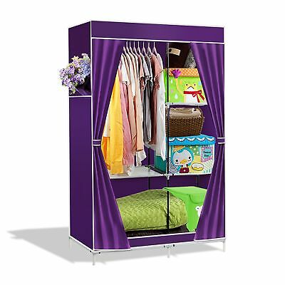 Intirilife  Lockable and Foldable Wardrobe Shelving System with Clothes Rail ...