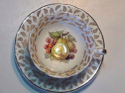 Royal Imperial Fine Bone China Tea Cup & Saucer ENGLAND Fruits 22 kt GOLD Plated