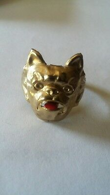 Antique Vintage Odd Victorian GF ? Brass ? Bulldog Moving Tounge Ring Adjustable