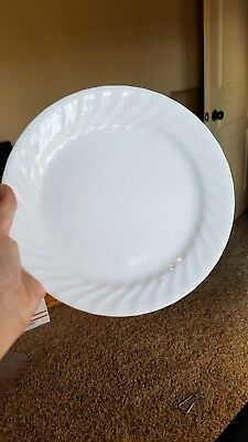 "3 Corelle Enhancements WHITE Swirl  Lunch Luncheon Plates 9"" EXCELLENT"