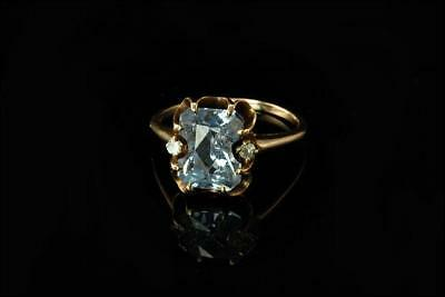 Antique Victorian Grey Blue Aquamarine Diamond 10K Gold Ring A804-21