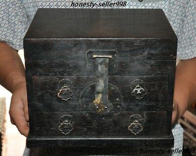 Chinese Rosewood Wood Hand-Carved Ancient Makeup box Chest drawer Jewelry boxes