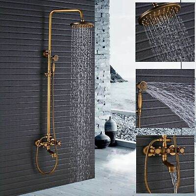 Antique Brass Bathroom Shower Faucet Set Shower Fixture Rain Shower Head