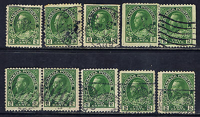 Canada #107(3) 1922 2 cent yellow green & green shades George V 10 Used