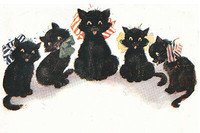 Funny Black Kittens Art Drawing 1924 - LARGE New Blank Note Cards