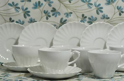 """Vintage J & G Meakin  ENGLAND """"Classic White"""" 6 Cups and  8 Saucers"""