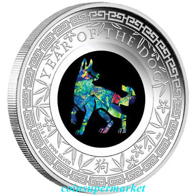 2018 Australia Opal Series Lunar Year of the Dog 1oz Silver Proof $1 Coin Perth