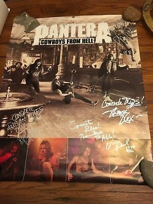 PANTERA 1990 FULLY AUTOGRAPHED COWBOYS FROM HELL PROMO POSTER 24x29.5